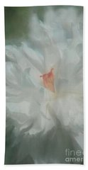 Hand Towel featuring the photograph White Peony by Benanne Stiens