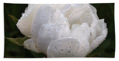 White Peony Covered In Raindrops Hand Towel by Gill Billington