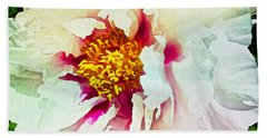 Hand Towel featuring the painting White Peony by Joan Reese