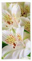 White Peruvian Lilies In Bloom Bath Towel