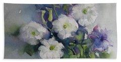 White Petunias Bath Towel by Elena Oleniuc