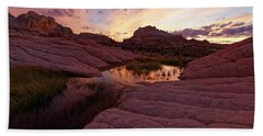 White Pocket Sunset Hand Towel by Jonathan Davison