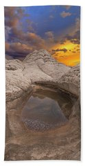 White Pocket Sunset Bath Towel