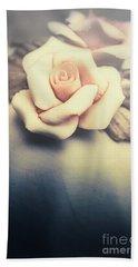 White Porcelain Rose Hand Towel