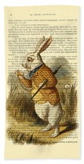 White Rabbit, I Am Late, I Am Late, For A Very Important Date Bath Towel
