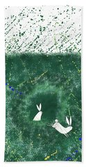 White Rabbits  Bath Towel