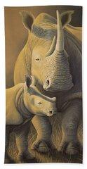 White Rhino Fading Into Extinction Hand Towel