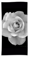 White Rose Flower In Black And White Bath Towel