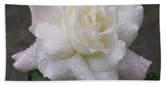 White Rose In Rain - 3 Bath Towel by Shirley Heyn