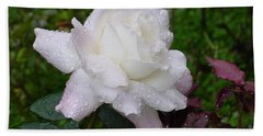 White Rose In Rain Bath Towel