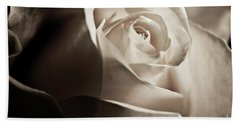 Bath Towel featuring the photograph White Rose In Sepia 2 by Micah May