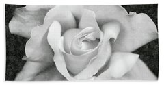 Bath Towel featuring the photograph White Rose Macro Black And White by Jennie Marie Schell