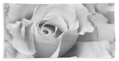 Bath Towel featuring the photograph White Rose Ruffles Monochrome by Jennie Marie Schell