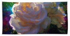 White Roses In The Garden - Backlit Flowers - Summer Rose Hand Towel