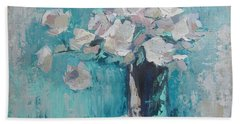 White Roses Palette Knife Acrylic Painting Bath Towel