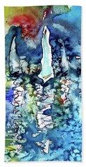 White Sailboats At Sunset Hand Towel by Kovacs Anna Brigitta