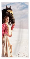 White Sands Horse And Rider #2a Hand Towel