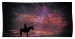 White Sands Horse And Rider #4c Hand Towel