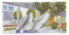 White Sculpture In Santa Monica Blvd., Beverly Hills, California Hand Towel