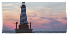 White Shoal Lighthouse At Sunset Hand Towel