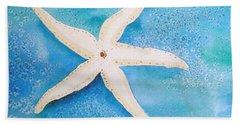 White Starfish Bath Towel by Patricia Piffath