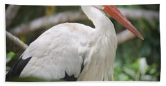 Bath Towel featuring the photograph White Stork Portrait by Judy Kay