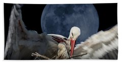 White Storks Of Fagagna With Full Moon Bath Towel