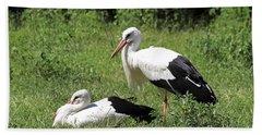 White Storks Bath Towel