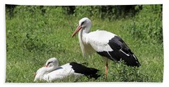 White Storks Bath Towel