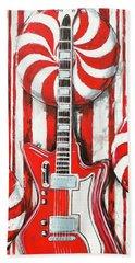 White Stripes Guitar Hand Towel