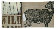White Tail Deer Wild Game Rustic Cabin Hand Towel