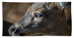 White Tailed Deer Facial Profile Closeup Portrait Hand Towel