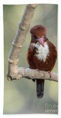 White-throated Kingfisher 01 Bath Towel