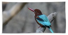 White-throated Kingfisher 02 Bath Towel