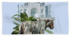 White Tiger And The Taj Mahal Image Of Beauty Hand Towel