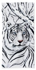 Hand Towel featuring the painting White Tiger Blending In by Teresa Wing