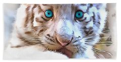 White Tiger Cub Hand Towel