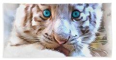 White Tiger Cub Hand Towel by Sergey Lukashin