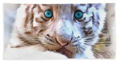 White Tiger Cub Bath Towel