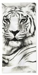 White Tiger Portrait Bath Towel