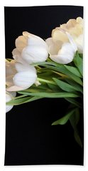 White Tulips In Blue Vase Bath Towel by Julia Wilcox