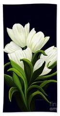 White Tulips Hand Towel