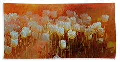 White Tulips Bath Towel