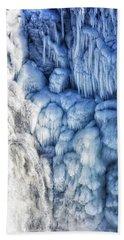 White Water And Blue Ice Gullfoss Waterfall Iceland Hand Towel by Matthias Hauser