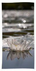 Hand Towel featuring the photograph White Waterlily 3 by Jouko Lehto
