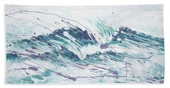 White Wave Abstract Bath Towel