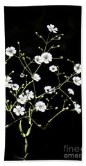 White Wild Flowers Bath Towel