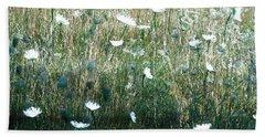 White Wild Flowers Landscape Bath Towel