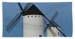 Hand Towel featuring the photograph White Windmills by Heiko Koehrer-Wagner