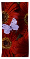 White Wings On Red Daisy Bath Towel